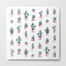 Succulents Cacti Pattern Pink Watercolor Metal Print