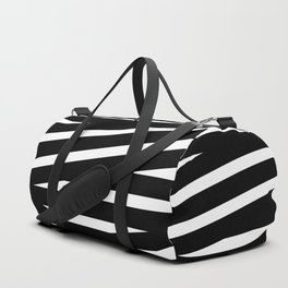 Abstract black & white Lines Stripes Pattern - Mix and Match with Simplicity of Life Duffle Bag