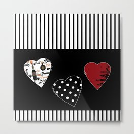 Valentine's day . Love. Black and white striped background .3 hearts . Metal Print