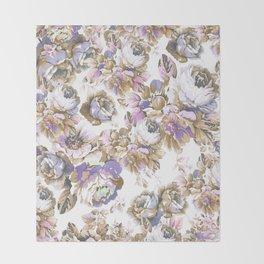 Bohemian vintage rustic brown lavender floral Throw Blanket