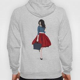 Romantic look, girl in red skirt Hoody