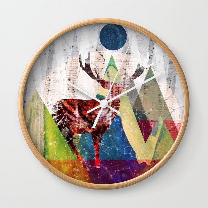 Wonder Wood Dream Mountains - Red Deer Dream Illusion 2 Wall Clock