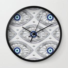 Greek Mati Mataki - Matiasma Evil Eye Pattern #3 Wall Clock