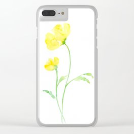Watercolor Yellow Poppies Clear iPhone Case