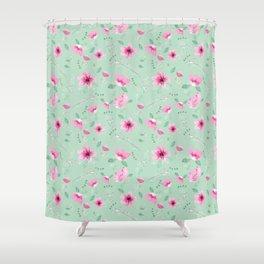 Fushia and Jade Floral Shower Curtain