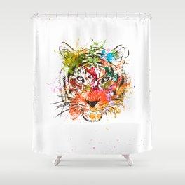 creative color ink splash tiger avatar Shower Curtain