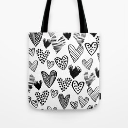 Hearts black and white hand drawn minimal love valentines day pattern gifts decor Tote Bag