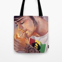 smoking Tote Bags featuring Smoking by justsomestuff