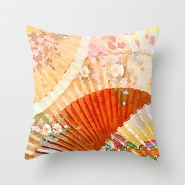 Watercolor Fans Throw Pillow