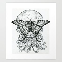 Butterfly Skull With Peony Art Print