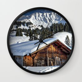 Winter Cabin Wall Clock
