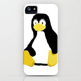 Linux Tux primitive painting iPhone Case