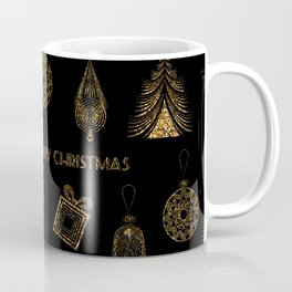 Christmas Golden pattern on black background. Coffee Mug