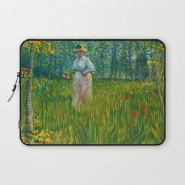 A Woman Walking in a Garden Laptop Sleeve