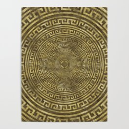 Circular Greek Meander Pattern - Greek Key Ornament Poster