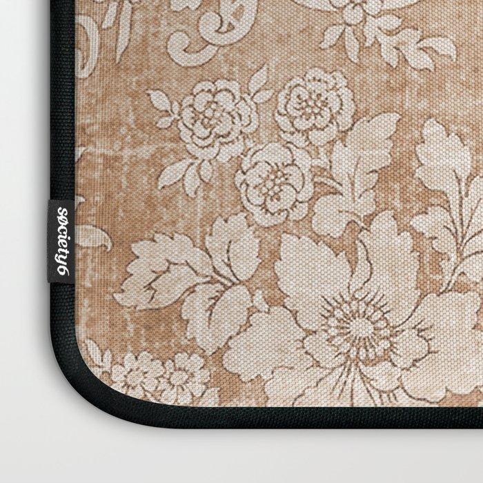 Vintage white brown grunge shabby floral Laptop Sleeve