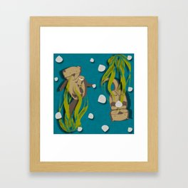 Significant otters teal Framed Art Print