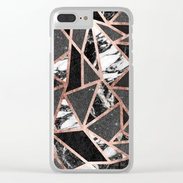 Modern Rose Gold Glitter Marble Geometric Triangle Clear iPhone Case