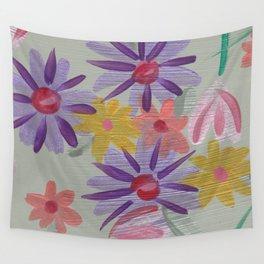 Rain Flowers Wall Tapestry