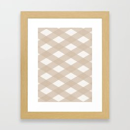 Pantone Hazelnut, Tan Argyle Plaid, Diamond Pattern Framed Art Print
