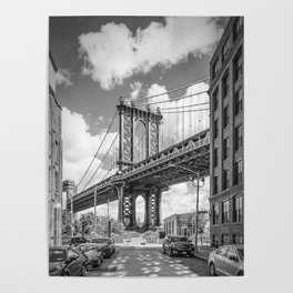 NEW YORK CITY Manhattan Bridge | Monochrome Poster