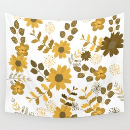 Big Yellow and Brown Flowers Wall Tapestry
