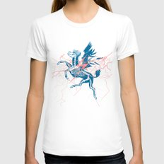 Pegasus White X-LARGE Womens Fitted Tee