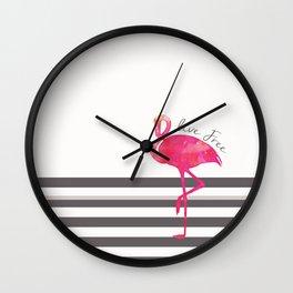 Live Free Flamingo  Wall Clock