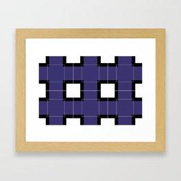 White Hairline Squares in Deep Purple Framed Art Print