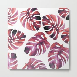 Monstera Red Metal Print