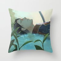 levi Throw Pillows featuring The dreamer (Levi, SnK) by sushishishi