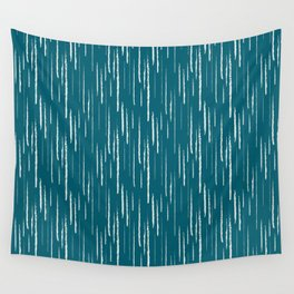 Off White Abstract Grunge Vertical Stripe Pattern on Tropical Dark Teal Inspired by Sherwin Williams 2020 Trending Color Oceanside SW6496 Wall Tapestry