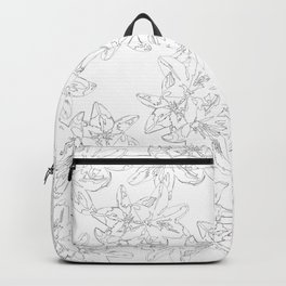 black and white line art flowers Backpack