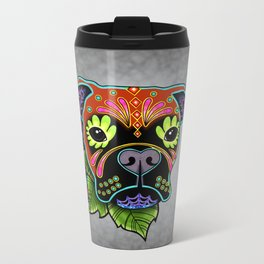 Boxer in Fawn - Day of the Dead Sugar Skull Dog Metal Travel Mug