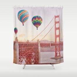 Golden Gate Bridge and Hot Air Balloons Shower Curtain