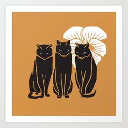 Three black cats and white flower Art Print