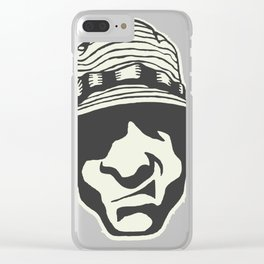 Angry Face With A Bucket Hat Clear iPhone Case