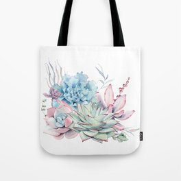 Pretty Pastel Succulents Tote Bag