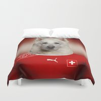 switzerland Duvet Covers featuring Worldcup 2014 : Switzerland - Swiss Sheperd by Life on White Creative