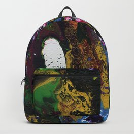 Searching For Gold - Original, abstract, fluid, acrylic painting Backpack