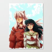 inuyasha Canvas Prints featuring Kagome + Inuyasha  by Smiling Owl Productions