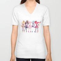 madoka V-neck T-shirts featuring Madoka by sarlisart