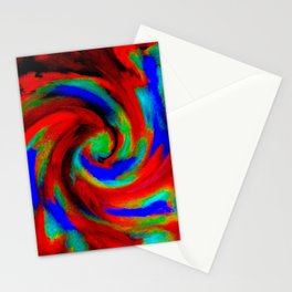 Red Blue Green Fireball Sky Explosion Stationery Cards