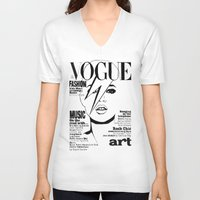 kate moss V-neck T-shirts featuring Kate Moss / David Bowie by Linda Nicolaysen