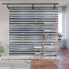 Simply Shibori Stripes Indigo Blue on Lunar Gray Wall Mural