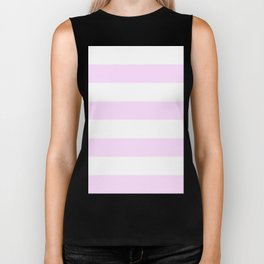 Wide Horizontal Stripes - White and Pastel Violet Biker Tank