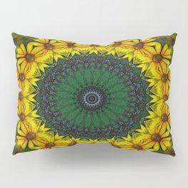 Large Yellow Wildflower Kaleidoscope Art 4 Pillow Sham