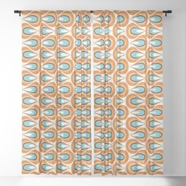 Retro Mid Century Modern Geometric Flame in Orange and Turquoise Sheer Curtain