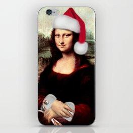 Mona Lisa Wearing a Santa Hat iPhone Skin