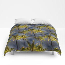 Palm Trees Tropical Night Pattern Comforters